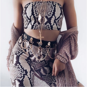 Snakeskin Tube Top Short Set - AfterAmour