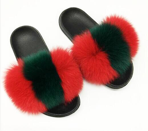 Women's Multicolor Fur Sandals - AfterAmour