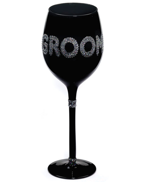 Name Your Price | Groom Wine Glass - Black | Games And Novelties |Forum Novelties | Only at evalaide.com
