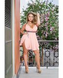 Microfiber & Lace Babydoll W-padded Cups, Adjustable Straps, Removable Bow, Thong Pink-black 3x-4x, Clothing And Lingerie, Coquette International - Only at Evalaide.com