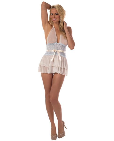Sheer & Lace Halter Chemise Ivory-sweet Blue Sm, Clothing And Lingerie, Escante INC - Only at Evalaide.com