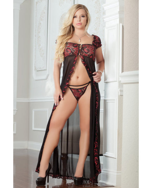 Name Your Price | Flirty Front Open Gown W-thong Ruby 1x-2x | Clothing And Lingerie |G World Intimates | Only at evalaide.com