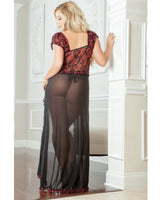 Flirty Front Open Gown W-thong Ruby 3x-4x, Clothing And Lingerie, G World Intimates - Only at Evalaide.com