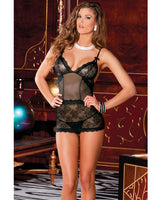 Rene Rofe Sophisticated Lace Chemise & G-string Set Black S-m, Clothing And Lingerie, Rene Rofe - Only at Evalaide.com