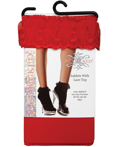 Name Your Price | Ankle Socks W-lace Top Red O-s | Clothing And Lingerie |Be Wicked INC | Only at evalaide.com