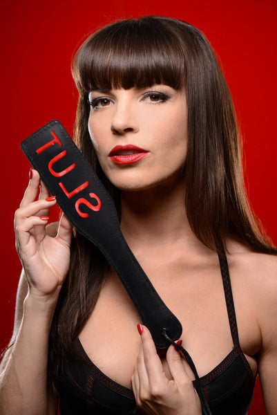 Name Your Price | SLUT Steel Enforced Spanking Paddle | Impact |Master Series | Only at evalaide.com