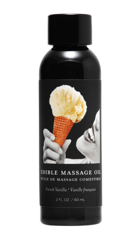2 Ounce Edible Massage Oil- French Vanilla, Personal Lubricants, Earthly Body - Only at Evalaide.com