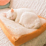 Slice of Bread Cat Bed - Toast bread cat pillow