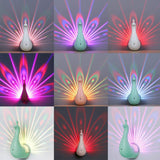 LED Peacock Night Light - Unique and Creative Kids Bedroom Peacock Plumage Projecting Lamp