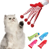 Funny Clown Glove Cat Toy - Long glove cat toy with pom poms and bells