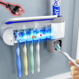 Antibacterial UV Toothbrush Holder and Sterilizer - Unique Bathroom Germaphobe Gadget