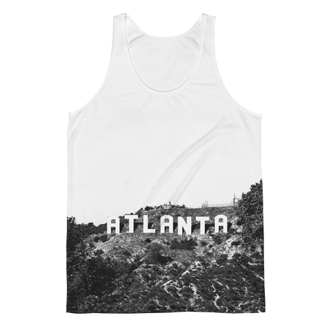 ATL Hills - black and white unisex Atlanta Hollywood tank top design for men and women