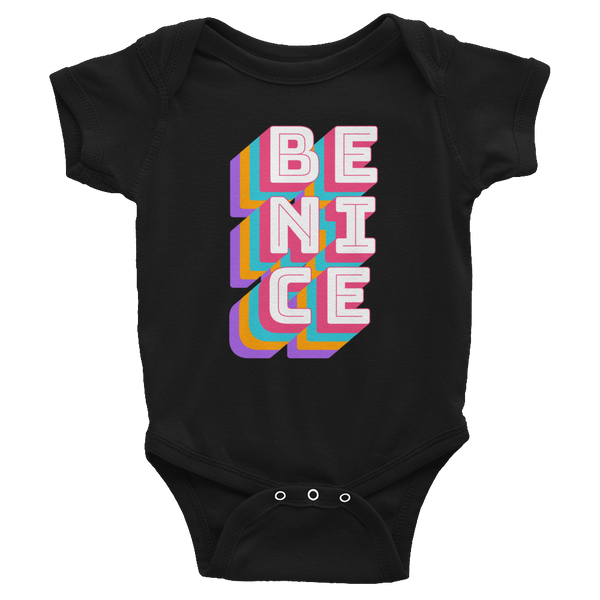 Be Nice - Modern black short sleeve baby bodysuit onesie