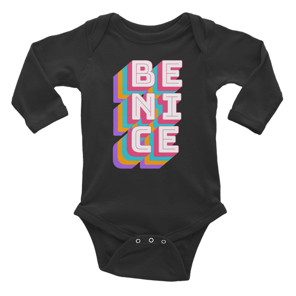 Be Nice - Modern black long sleeve baby bodysuit onesie