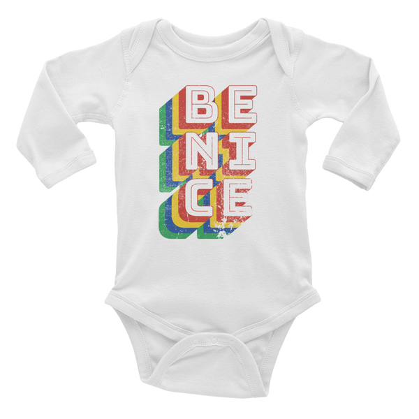 Be Nice - Retro white long sleeve baby bodysuit onesie