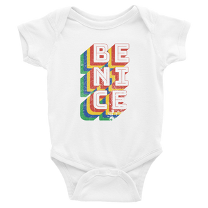 Be Nice - Retro white short sleeve baby bodysuit onesie