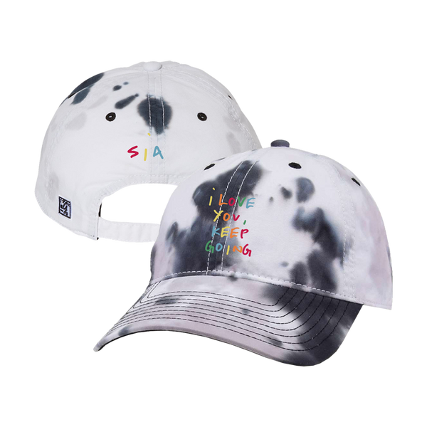 Keep Going Black and White Tie Dye Twill Cap (Pre Order)