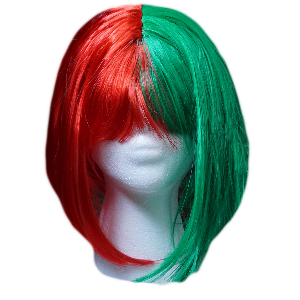 Red And Green Bob Costume Wig