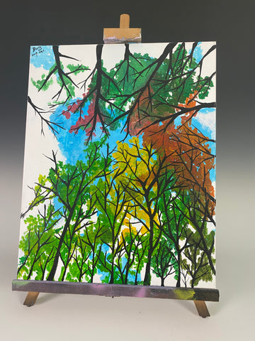 The Trees Above - Original Student Painting On Canvas