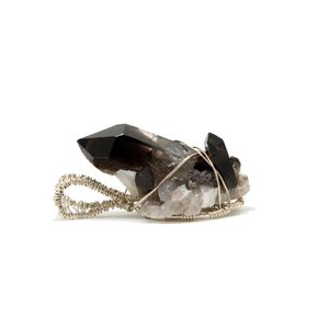 raw smoky quartz cluster Sterling silver necklace