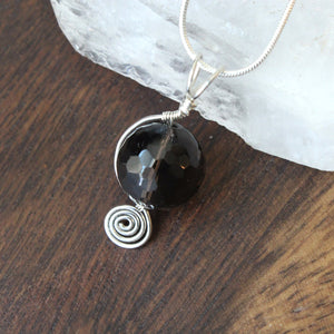 Spiral and Smoky Quartz Drop Pendant