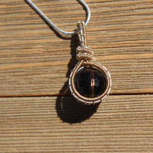 Elegant Smoky Quartz Drop Pendant ~ Sterling Silver and Gold