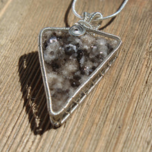 druzy smoky quartz Sterling silver pendant natural light