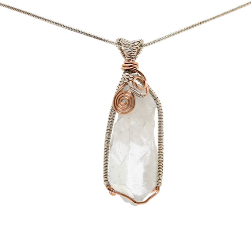 Elegant Clear Quartz Crystal Necklace ~ Sterling Silver and Rose Gold Fill