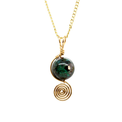 Chrysocolla Spiral Drop ~ 14k Gold Fill