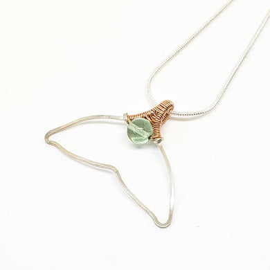 Fluorite Whale Tail ~ Sterling Silver & Rose Gold Fill