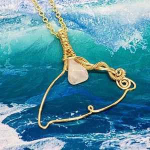 Rose Quartz Whale Tail ~ 14k Gold Fill