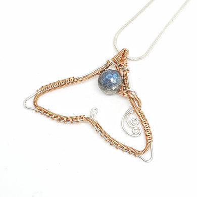 Labradorite Whale Tail ~ Copper & Sterling Silver