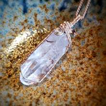 Vibrant Clear Quartz Crystal Necklace ~ Sterling Silver and Rose Gold Fill