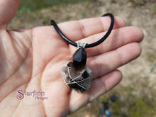 smoky quartz cluster Sterling silver necklace scale