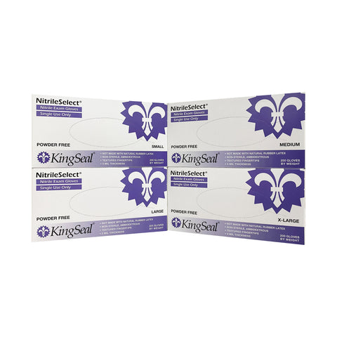KingSeal NitrileSelect Nitrile Exam Gloves, 3 MIL, Powder-Free, Latex-Free, Medical Grade, 200 Count Box
