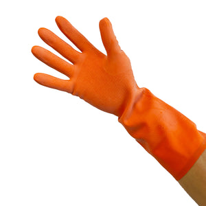 "Heavy Duty Latex Flock-Lined Gloves, Orange, 13"" Length, 28 Mil (12 pairs per bag)"