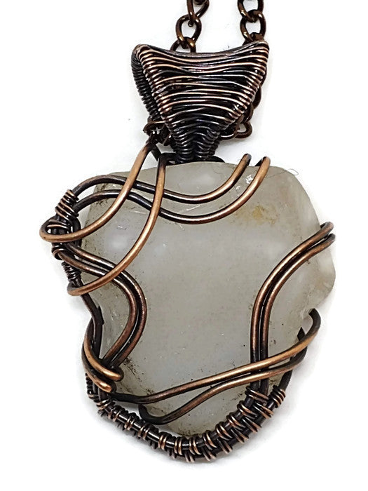 Antiqued Copper Lake Superior Beach Glass White Waves Necklace