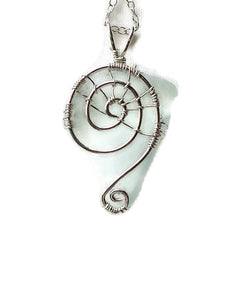 Sterling Silver Lake Superior Beach Glass Clear Web Swirl Necklace
