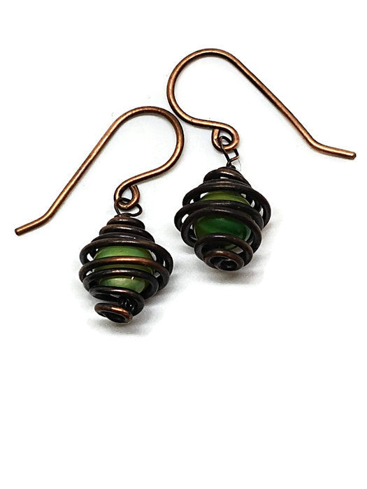 Antiqued Copper Avocado Mother of Pearl Caged Earrings