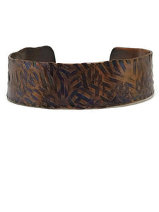 Antiqued Copper Hammered Cuff Bracelet - Dashes