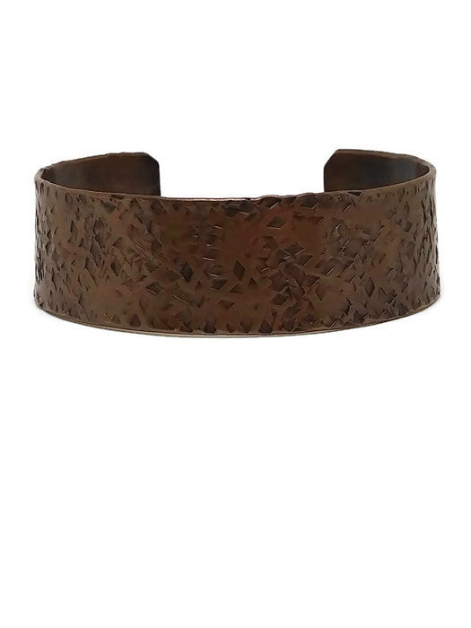 Antiqued Copper Hammered Cuff Bracelet - Diamonds