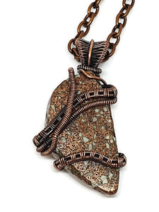 Antiqued Copper Michigan Copper Firebrick Necklace