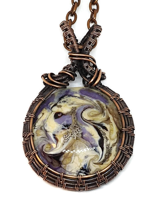 Antiqued Copper Handmade Glass Cabochon Necklace - One of a Kind - Lavender & Cream