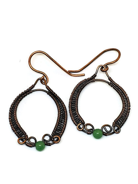 Antiqued Copper Green Aventurine Medallion Earrings