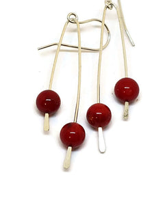 Sterling Silver Paddle Earrings - Red Bamboo