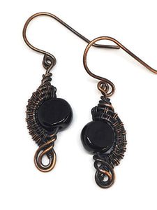 Antiqued Copper Black Onyx Half Circle Earrings