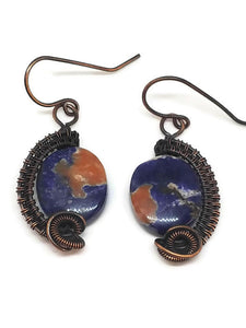 Antiqued Copper Sodalite Half Circle Earrings