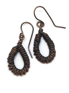 Antiqued Copper Coiled Teardrop Earrings
