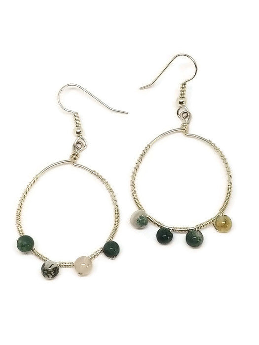 Sterling Silver Tree Agate Hoop Earrings