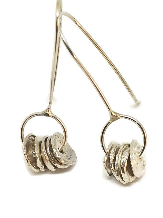 Sterling Silver Water Cast Circle Drops Earrings
